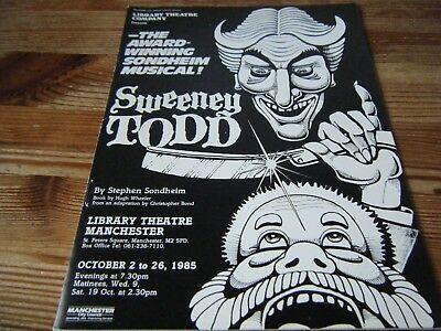 1985  Theatre  Programme  - Sweeney Todd -  At The Manchester Library Theatre