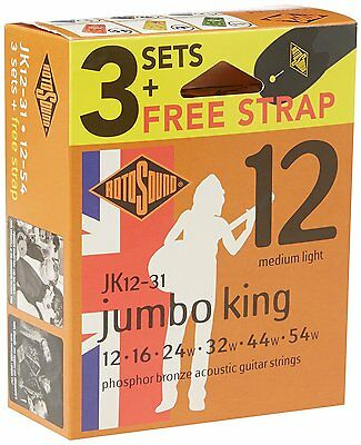 Rotosound JK12-31 3 Sets Phosphor Bronze 12-54 Acoustic Guitar Strings + Strap