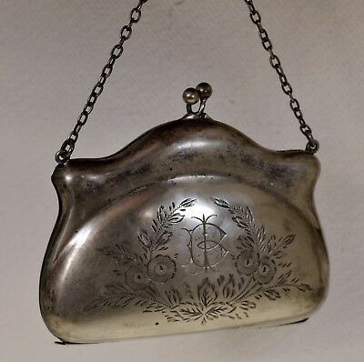 A Charming Silver Plated & Engraved Ladies Evening Bag with Finger Chain c.1910