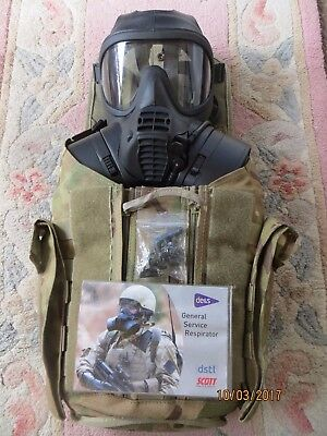British Army Gsr Gas Mask (Size 3/3), Both Filters & A Good Gsr Haversack!