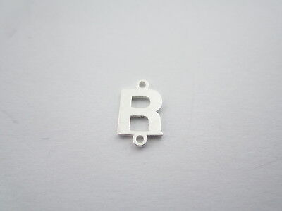 1 connettore 2 fori  lettera R in argento 925 made in italy misure 11 x 6 mm