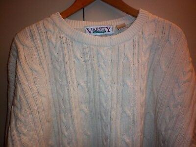 Vintage Large Mens Cable Knit Cotton Jumper Good Condition