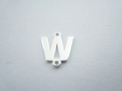 1 connettore 2 fori  lettera W in argento 925 made in italy misure 11 x 10 mm
