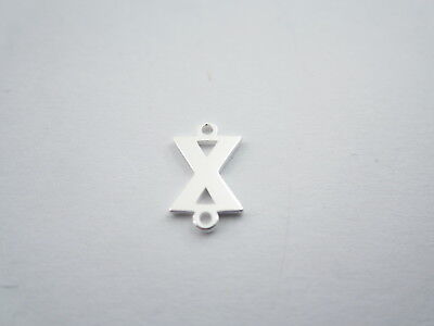 1 connettore 2 fori  lettera X in argento 925 made in italy misure 11 x 6 mm