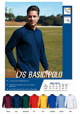 Unisex Adults Men's Ladies Long Sleeve Poly Cotton Basic Polo with Ribbed Cuff