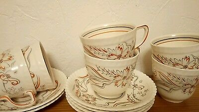 Gray's Pottery  6 Cups & Saucers - Grey/Red Handpainted-A8477X-VGC- Art Deco ?