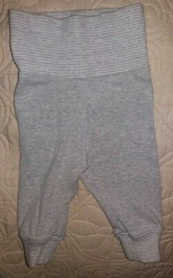 H&M 1-2 months baby boy girl unisex gray pull on pants 100% cotton