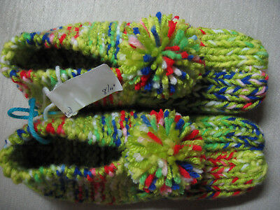 New Amish Handmade Knit House Slippers Keylime Green Womans Sm Mans X Sm 8 1/4""