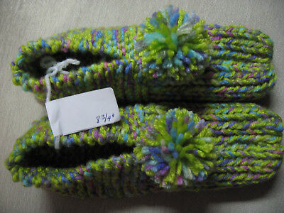 NWOT Handmade House Slippers Keylime Green Colors Womans Med Mans Sm 8 3/4""