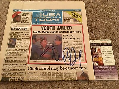 MICHAEL J FOX SIGNED BTTF NEWSPAPER JSA PROOF AUTOGRAPH BACK TO THE FUTURE USA c