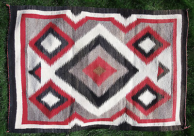 "Navajo Native American Indian Eye Dazzler Red Warps 41""x 59"" Blanket Rug Weaving"