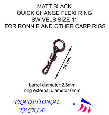 MATT BLACK QUICK CHANGE FLEXI RING SWIVELS SIZE 11 - RONNIE and OTHER CARP RIGS