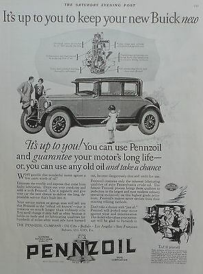 1926 ORIG.PRINT AD PENNZOIL MOTOR OIL it's up to you to keep your new Buick new