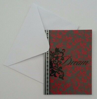 Set of 8 Blank Greeting Notecards & Envelopes ~ Dream Black Red Gray Flowers