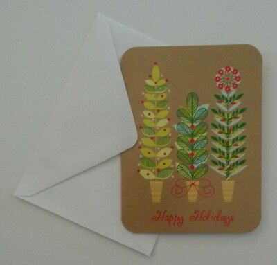 Set of 6 Blank Greeting Notecards & Envelopes ~ Christmas Trees Happy Holidays