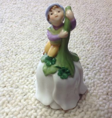 Avon Pixie on Flower Bell Vintage 1993 Porcelain 4 Leaf Clover Elf