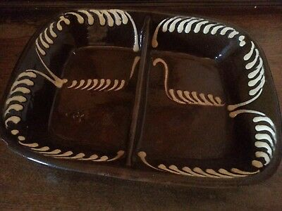 Antique 19th Century English slipware divided baking dish