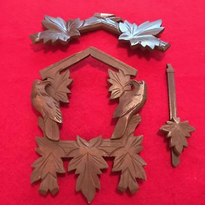 Vintage Black Forest Germany Cuckoo Clock Mfg Co Parts Lot Of Wooden Crown Parts