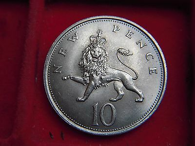 1968  Now Obsolete Uncirculated Large  Ten Pence Coin With Mint Lustre [T75]