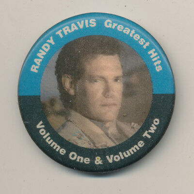 Randy Travis Greatest Hits Volume One & Two RARE motion promo button '92