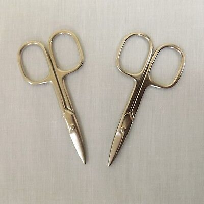 SET OF 2 Small Silver Stainless Steel Embroidery Manicure Sewing Scissors