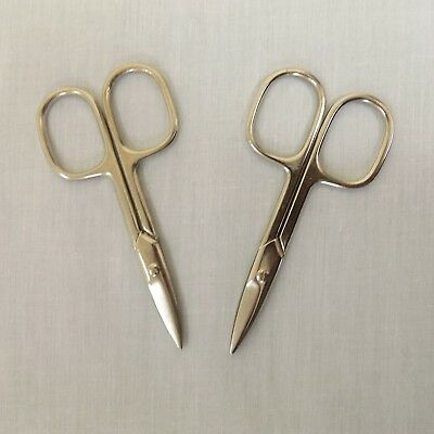 SET OF 2 Small Silver Stainless Steel Sewing Embroidery Manicure Scissors