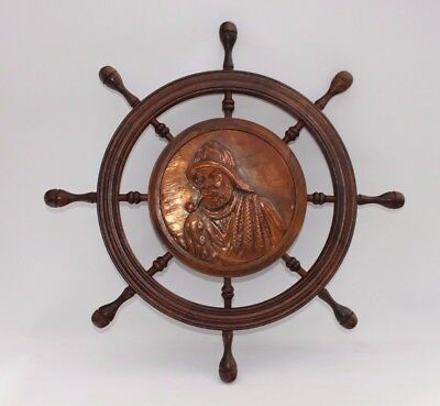 Ships wheel Copper pirate decoration Repousse 60cm diameter French brocante find