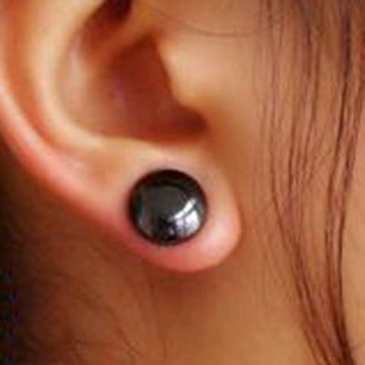 Pair of 11mm Magnetic Stud Earrings - Hematite Colour Acupoints Slimming Therapy