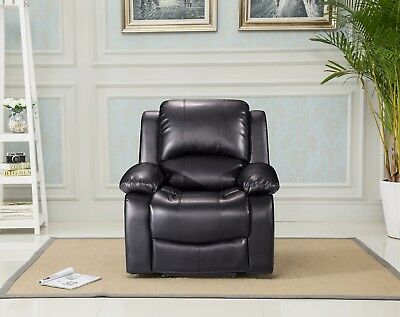 New Valencia 1 Seater Bonded Leather Manual Recliner Chair - Black