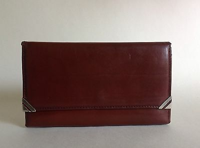 Chestnut Brown Large Leather 1960s Vintage Wallet/ Purse With Faux Suede Lining