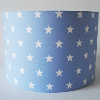 Pale Blue with White Star, Large Fabric Lampshade / Lightshade