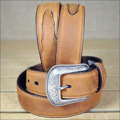 3D 32 x 1 1/2 INCH BROWN MEN'S WESTERN BASIC LEATHER BELT REMOVABLE BUCKLE