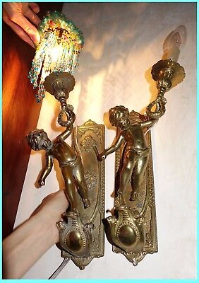 Wall Sconces Cupids Putti Antique French Bronze Pair Lights Angels No Shades