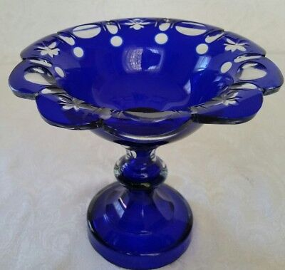 Vintage Moser  Bohemia Cobalt Blue Cut To Clear Glass Footed Compote Ornate Nice