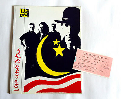 U2 Love Comes To Town Tour 1989 JAPAN CONCERT PROGRAM BOOK w/Ticket stab