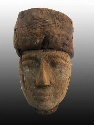 Ancient Egyptian Wooden Mummy Mask - 13 1/2  Inches