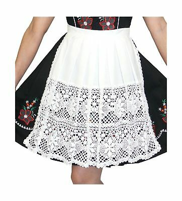 "German White Lace Apron for Dirndl (16"" (US size 10-16 )) 16"" (US size 10-16 )"