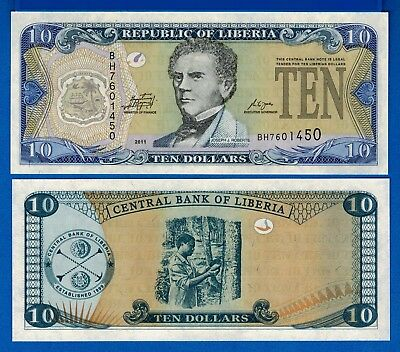 Liberia P-27f Ten Dollars Year 2011 Uncirculated