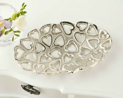 Brand New Top Quality Silver Colour Heart Hearts Oval Shaped Fruit Bowl Dish