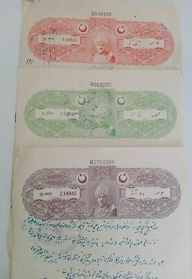 bahawalpur stamp Papers x 3 different types.in fine used condition.complete .