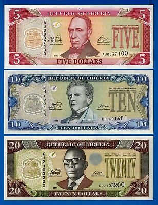 Liberia P-26, P-27, P-28, Years 2003-2011 Uncirculated Set # 3 Free Shipping