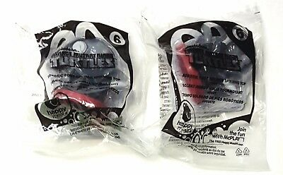 Set of 2 McDonalds Happy Meal TMNT Robotic Foot Soldier Spinning Top Toy - 2015