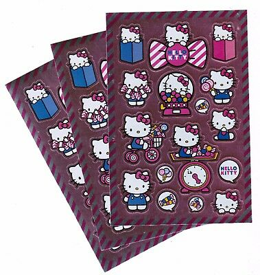 SANRIO Hello Kitty Shiny Stickers 3 Sheets! Bow Gumball Lollipop Candy Sweets