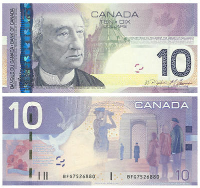 1 new Bank of Canada $10 Uncirculated Note, Canadian Bill Paper Money, Year 2006