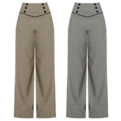 Vintage 1940s 1950s  Retro Vintage Dogtooth Wide Leg High Waist Slacks Trousers