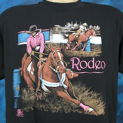 vintage 80s COWGIRL RODEO PAPER THIN T-Shirt LARGE horse cartoon cowboy barrel