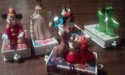 5 McDonalds Disney Book Train pull toys / cake toppers