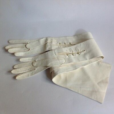 Ivory Vintage 27 Inch Mousquetaire 3 Button Leather Opera Gloves Size 5.5 / 6 XS