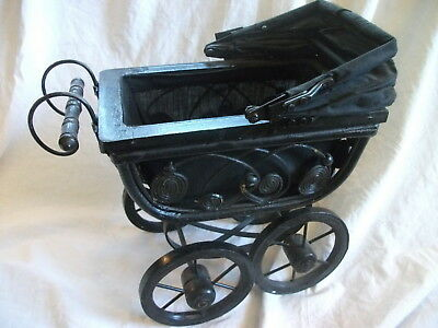 Vtg Antique Baby Doll Stroller Carriage Wood Black Canvas Metal