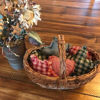 FArmhouse Plaid Ornies Bowl Fillers Rag PrImITive Green Red Stars Christmas